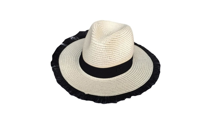 Women's Flat Crown Floppy Brim Outdoor Sports Panama Hat  – White / One Size
