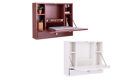 Costway Wall Mounted Folding Laptop Desk Hideaway Organizer Storage Space Saver