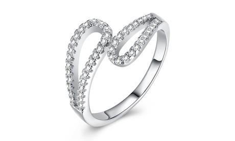 0.925 Sterling Silver White Crystal Swirl Adjustable Ring 627f2e6b-9668-4351-a5bb-35c51b3bb7b7