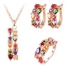 Rose Gold Color Flower Cubic Zircon Jewelry Set for Women