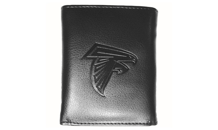 NFL Sports Team Embossed Tri - Fold Leather Wallet - Black