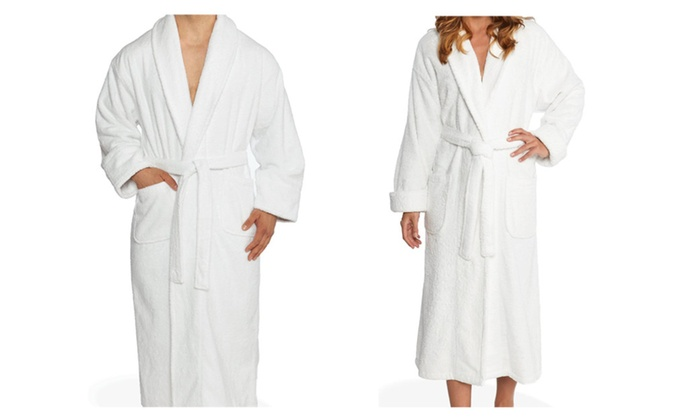 Unisex White Cotton Comfortable Bathrobe With 2 Pocket