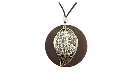 Wooden Contracted Leaves Long Sweater Chain Unisex Necklace 32fcf3c8-df4a-44df-b9cc-b49b3f6399d0