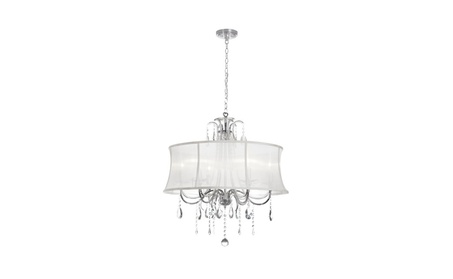 6 Light Crystal Chandelier, Polished Chrome, Organza Bell Shade 3cd1afbe-5a46-40b8-a532-11018c900523