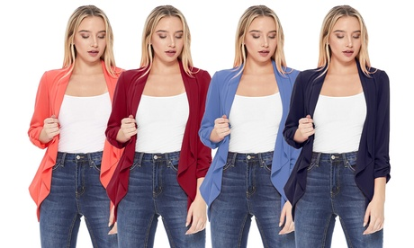Solid Casual Loose Fit Comfy Open Draped Neck Cardigan Blazer Jacket/Made in USA