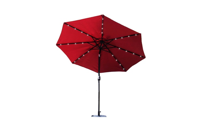 Outdoor 9ft Table Metal Solar Powered Led Lighted Patio Umbrella