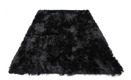 Soft Fluffy Thick Solid Black Non-Skin Shaggy Polyester Area Rug a6f03dfc-58b2-497e-9781-9f61a125baee