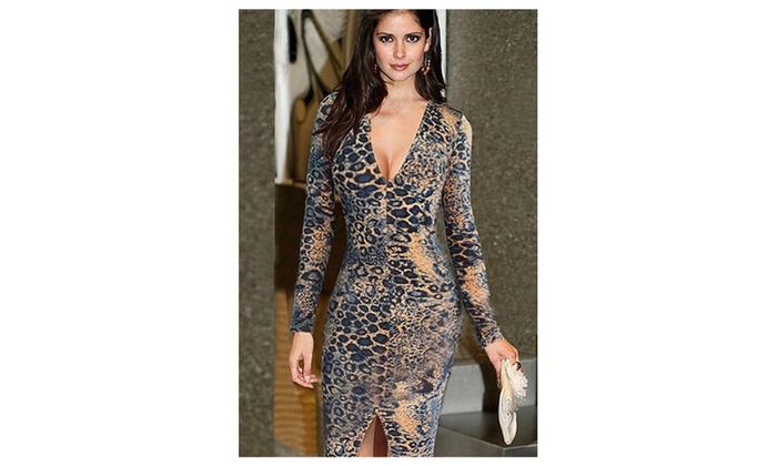 Women's Leopard Pattern Slim Waist Long Sleeves Dress – JPWD205