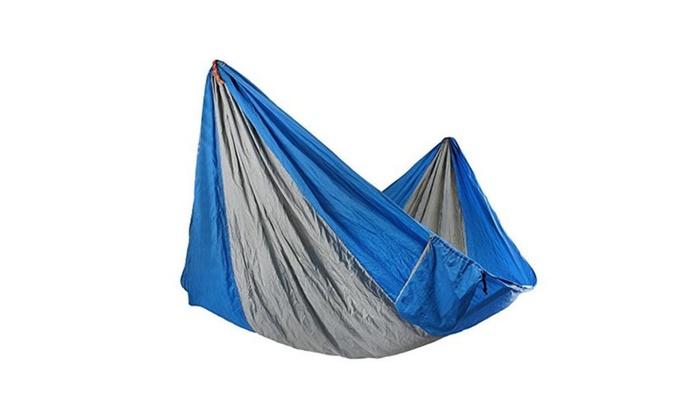 Double Hammock - Lightweight Nylon Parachute Hammocks  (blue & gray) - Hammock / one size