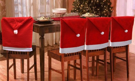 4pc Santa Hat Christmas Chair Covers