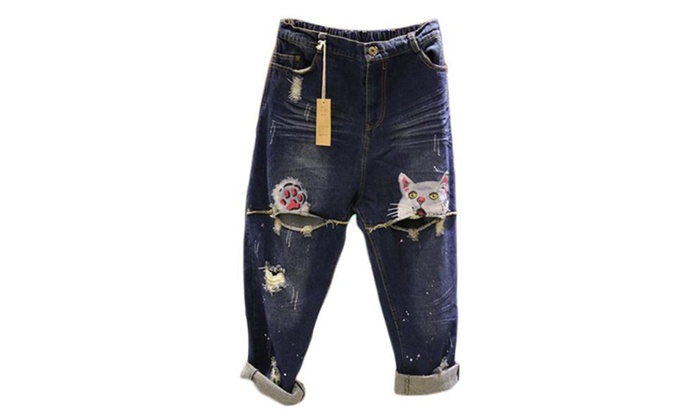 Women's Graphic Loose Printed Straight Leg Mid-Rise Jeans