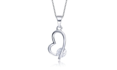 Sterling Silver White Cubic Heart-shape Necklace 3825dc51-b002-4075-ad08-88e22c2178f0