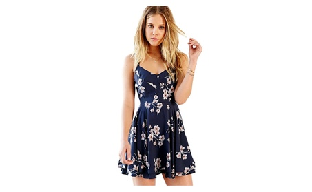 Floral Printed Spaghetti Strap Criss Cross Strappy Back Mini Dress 4929379a-6427-41e6-89b3-85c3f31ea820