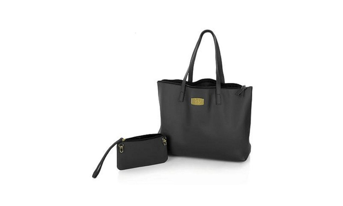 Joy Mangano Leather Bag with Clutch
