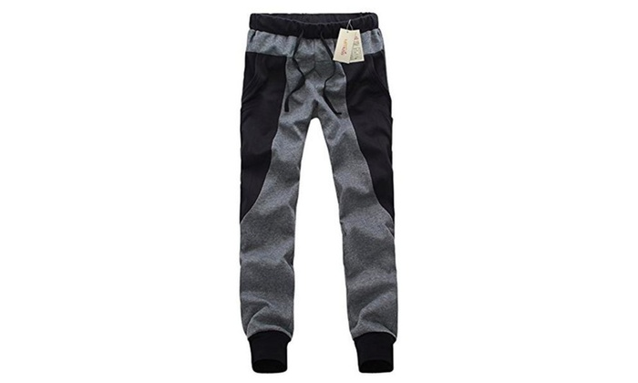 Meykiss Men's Cotton and Polyester Sports Pants – Dark Grey&Black / Small