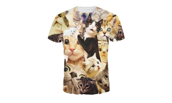 4PINGMen's 3D Cat Digital Printing T-shirt Short-Sleeved Casual Tees