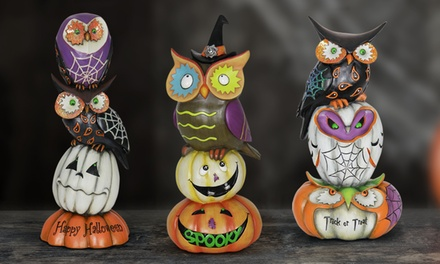 Halloween Pumpkin and Owl Statue with Greeting