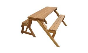Merry Products MPG-ACT04 Wood Picnic Table - Garden Bench- Wood
