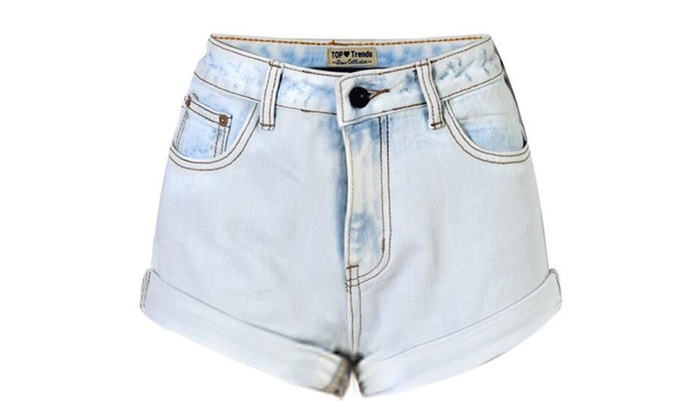 Women's Retro Girl High Waisted Crimping Boyfriend Jeans Shorts Pant