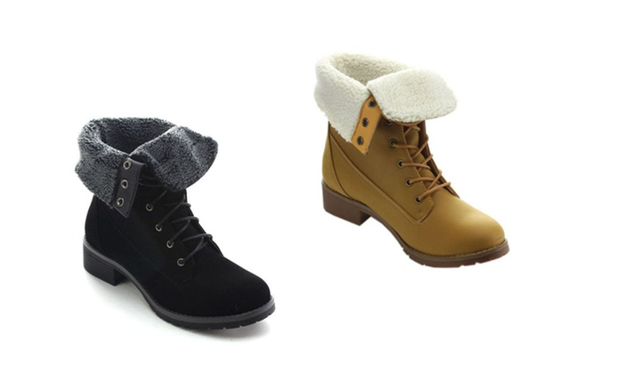 Betani Tammy-2 Women's Fold Over Cuff Combat Style Ankle Booties