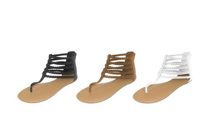 ed103b4a5761 P26 Womens Roman Gladiator Sandals Braided Flats Thongs Shoes