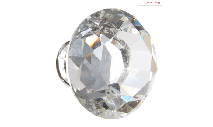 "Crystal Glass Diamond Shape 1.5"" Drawer Pulls, Knobs - Pack of 6"