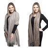 Womens Cold Weather Oversize Heavy Oblong Scarf with Fringe