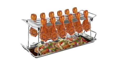 12 Slot Chicken Leg Grill Stand Multi-Purpose Non-Stick Poultry Stand photo