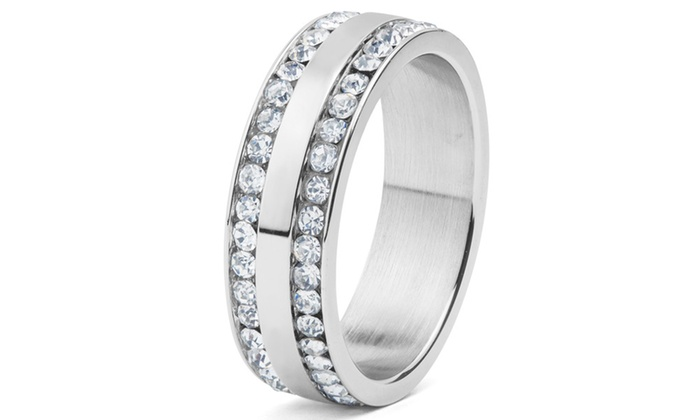 Groupon Goods: Men's Stainless Steel Cubic Zirconia Double Eternity Ring - 6-8mm Wide