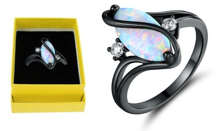 White Fire Opal Oval S Ring in Black Rhodium Plating