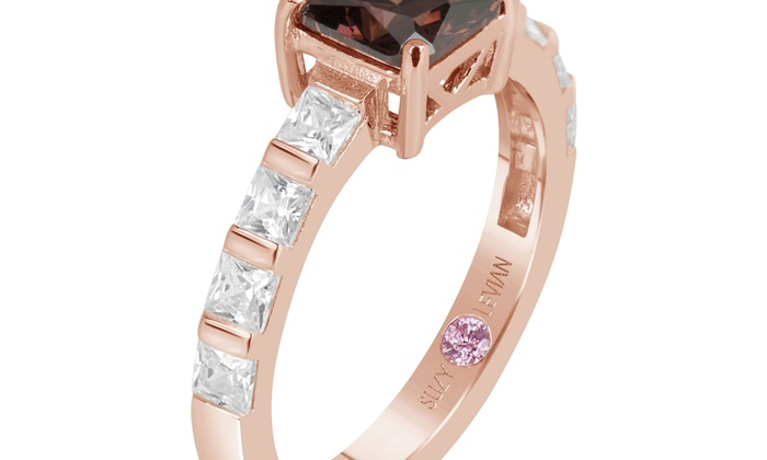 a02474a5e Suzy Levian Rose Sterling Silver Brown Asscher Cut Cubic Zirconia Bridal  Ring