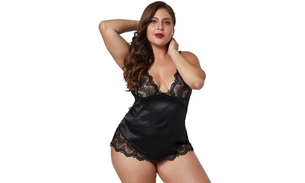 Women's Black/Red/Green Lace Cups Silky Satin Plus Size Chemise Lingerie Sets Was: $47.88 Now: $10.99.