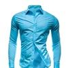 Fashion Solid Color Long Sleeve Shirt Slim Shirt