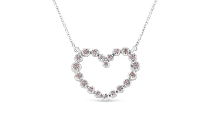 a47da2ba5fe15 14K White Gold 1/4ct TDW Natural Pink Diamond Heart Necklace (Pink ...