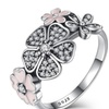 Floral Poetic Blooms 925 Sterling Silver Ring Pink Enamel  for women