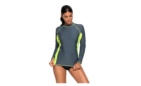 Women's Grey/Blue Long Sleeve Tankini Swim Top 38bfd685-b97b-4a0a-ad6b-a9eff98d3bf4