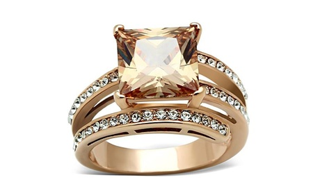 Rose Gold Stainless Steel Champagne Cubic Zirconia Cocktail Ring