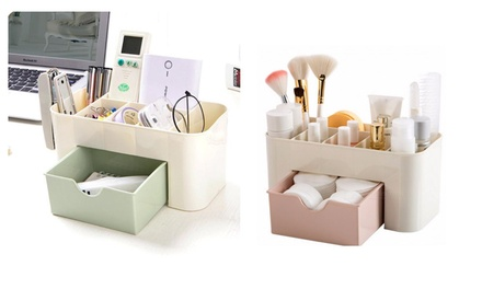 Compact Multi-Sectional Makeup Or Stationery Organizer With Storage Drawer