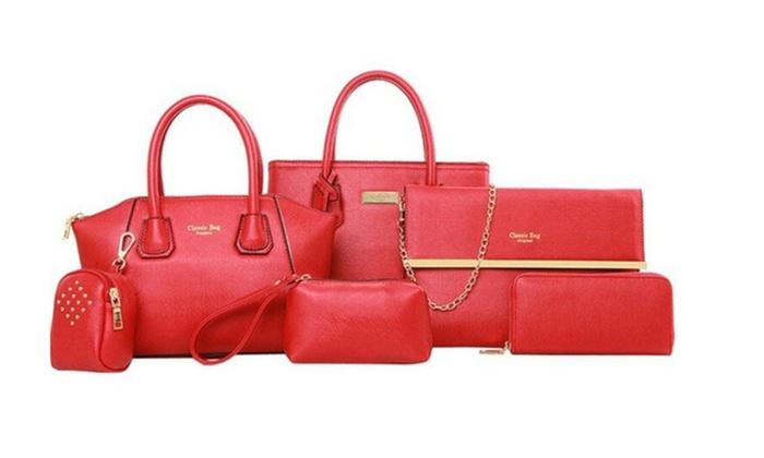 6pcs Bag Set Chic Tote Handbag Shoulder Bag Pouch Wallet For Women