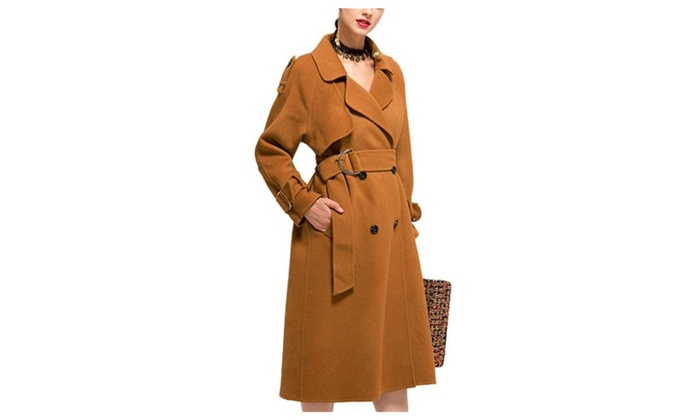 Women's Solid Long Sleeve Double-breasted Windproof Wool Coat