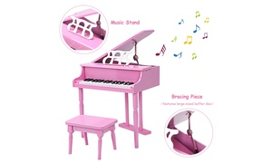 Goplus Childs 30 key Toy Grand Baby Piano w/ Kids Bench Wood New