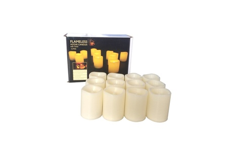 Indoor/Outdoor Set of 12 Flameless Votive Candles with 6 Hour Timer 112540d2-7e47-47a9-8d29-8b404a2ef75e