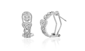 Diamante Diamond Accent Heart Design Leverback Earring