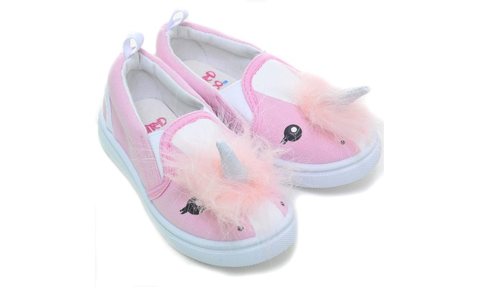 4ef1bd13fab Pink Fuzzy Unicorn Girls Slip On Toddler Sneakers Canvas