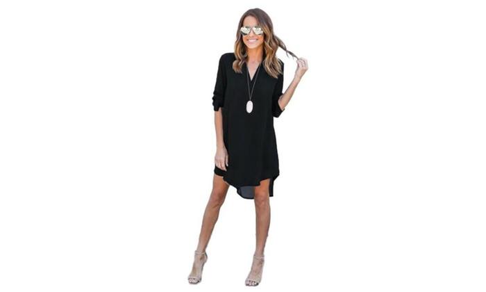 Women Casual Loose Elegant Dress Long Sleeve Chiffon Dress