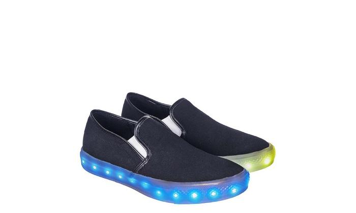 Womens Multicolored LED Light Up Slip On Flat Skater Sneakers Black