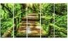 Moss around Wooden Walkway in Rain - Photo Metal Wall Art