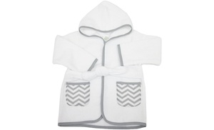 american baby company organic cotton baby bath robe white gray groupon. Black Bedroom Furniture Sets. Home Design Ideas