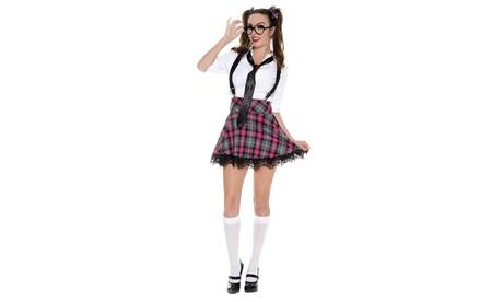 Teacher/'s Pet School Girl Tie Top Turquoise Plaid Curvy Queen Lingerie Costume