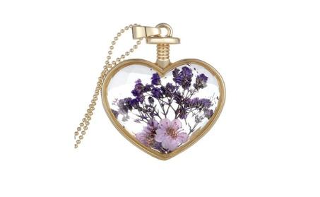 Purple Dried Flowers Heart Crystal Glass Pendant Necklace ea4fde28-13ed-485c-917e-accfe734721b